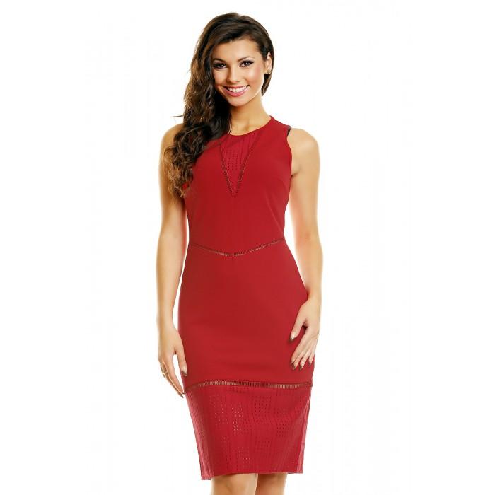 10e6c568 Rød elegant knelang kjole med gjennomsiktige partier