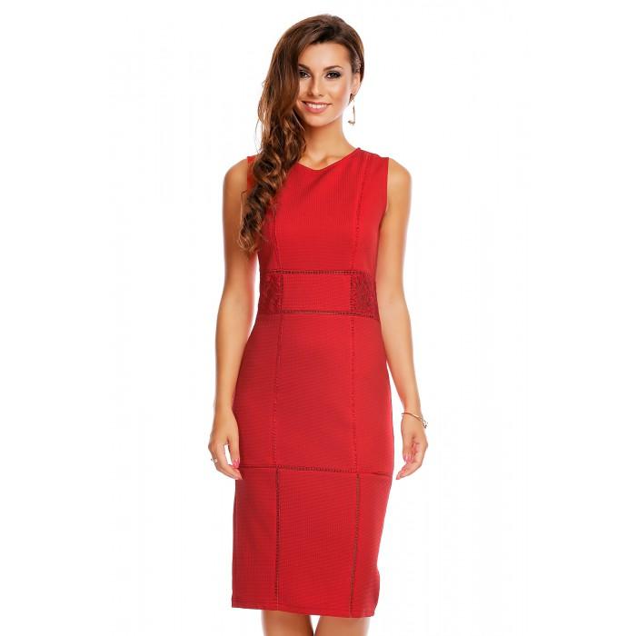 9fb2f762 Rød elegant knelang kjole med blonde partier
